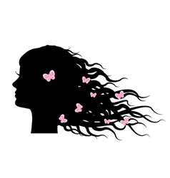 silhouette of girl with butterflies in hair vector image