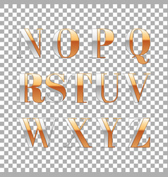 Silver and gold impossible font alphabet letter vector
