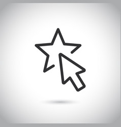 simple modern thin line icon with mouse and star vector image
