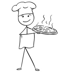 Stick man cartoon of male cook chef in hat vector