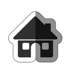 Sticker of black silhouette of house with two vector