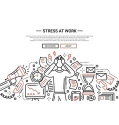 Stress at work - line flat design website banner vector