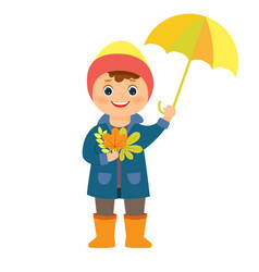 the boy with an umbrella and autumn leaves in his vector image