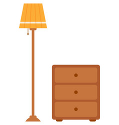 Torchiere floor lamp and bedside table vector