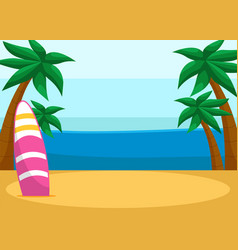 tropical sandy beach with surfboard seascape with vector image