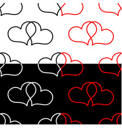 two hearts seamless pattern vector image