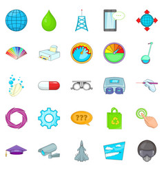 undertaking icons set cartoon style vector image