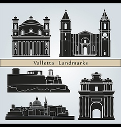 Valletta landmarks and monuments vector