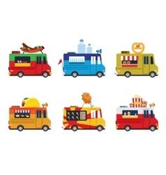 Van with food meals on wheels fast food Flat vector