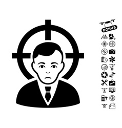 Victim businessman icon with copter tools bonus vector