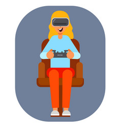 virtual reality glasses gamer young girl vector image