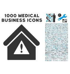 Warning Building Icon with 1000 Medical Business vector
