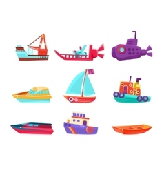Water Transport Toy Boats Set vector