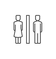 Wc linear icon woman and man toilet vector