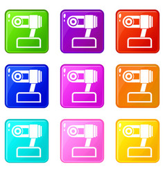 Webcam icons 9 set vector