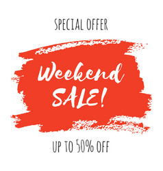 Weekend sale lettering inscription special offer vector