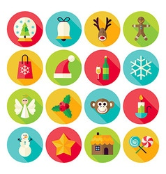 Winter Christmas New Year Circle Icons Set with vector image vector image