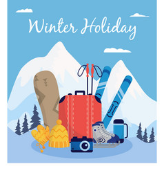 winter holiday poster - extreme sport equipment on vector image