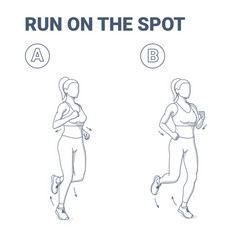 Woman doing jogging exercise fitness home workout vector