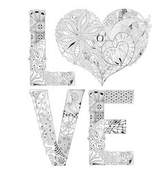 word love with heart for coloring vector image vector image