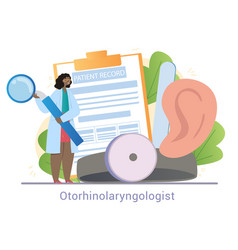 Young female otorhinolaryngologist is standing vector