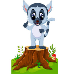cute baby lemur presenting on tree stump vector image vector image