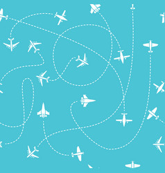 plane travel seamless pattern world travelling vector image