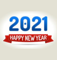 2021 - happy new year- red ribbon with shadow on vector image vector image