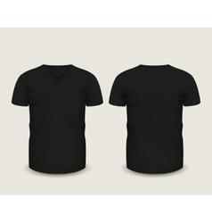Black V-neck shirts template vector image vector image