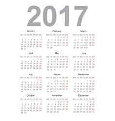 Calendar for 2017 vector image vector image