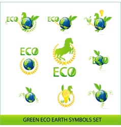nature eco earth green color sign set vector image vector image