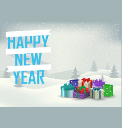 decorative inscription of a happy new year with vector image vector image