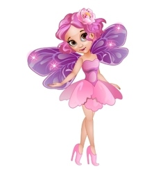 Fairy with wings in pink dress with flower on head vector image vector image