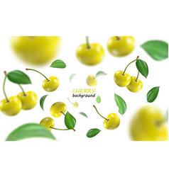 flying yellow cherries background realistic vector image