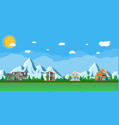 houses in the mountains among the trees vector image vector image