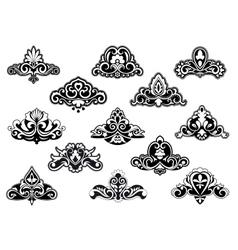 Decorative floral design elements and motifs vector image vector image