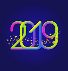 2019 iridescent numbers with glittering stars vector image