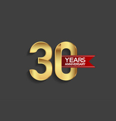 30 years anniversary simple design with golden vector