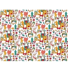 Art hand made objects toys color seamless pattern vector image