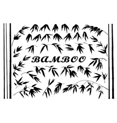 Bamboo Branches and Leaves Silhouettes vector image