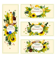 Banners for vegetable natural oil vector