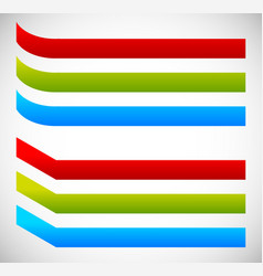 Bent banners curved and fold version in 3 colors vector