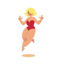 cartoon plump overweight woman swimsuit run vector image