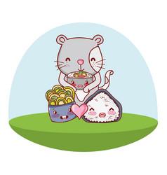 Cat and food kawaii cartoons vector