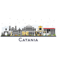 catania italy city skyline with gray buildings vector image