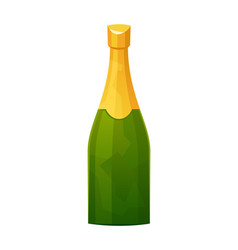 Champagne bottle with gold foil isolated on white vector