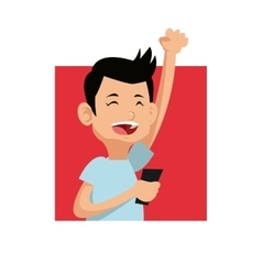 Cheerful gamer holding mobile pink square vector