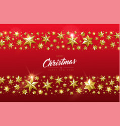 Christmas and new year card of gold star design vector