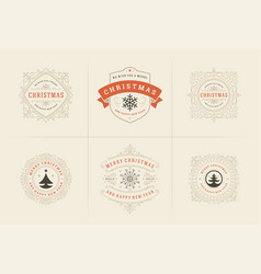 Christmas typography ornate labels vector