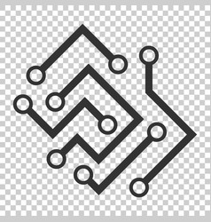 circuit board icon in flat style technology vector image
